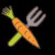 dessin carotte et rateau